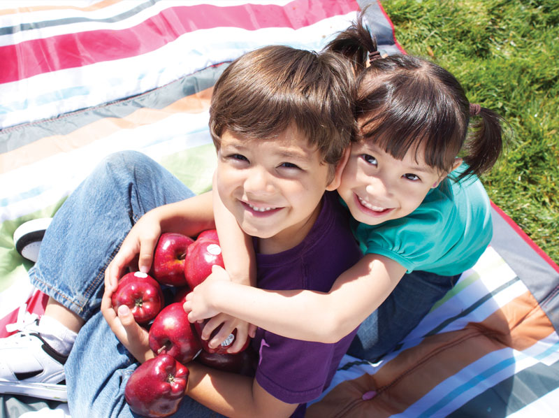 A young boy and girl outside on a blanket holding apples.